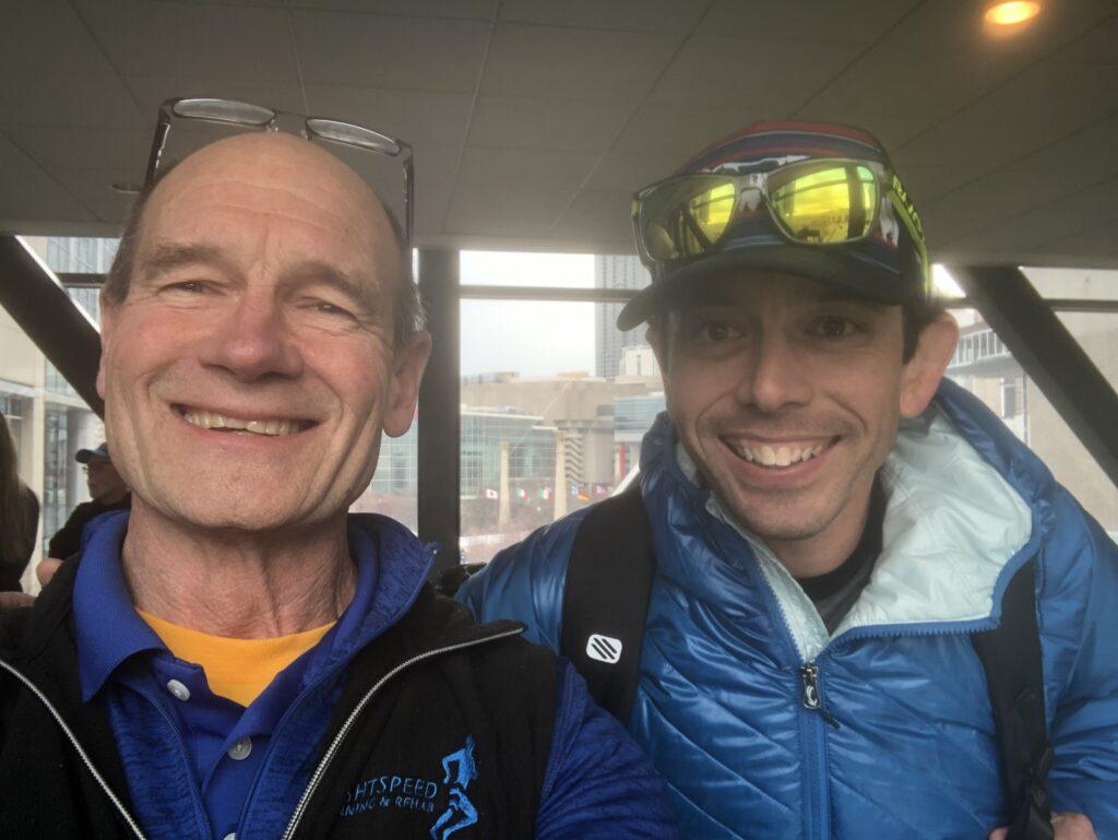 LightSpeed CEO, Malcolm Macaulay (left) with Hoka NAZ Elite coach, Ben Rosario (right) at the U.S. Olympic Marathon Trials, Atlanta GA, 2020.